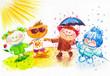 Cute children-  four seasons concept .