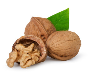 Walnuts with leaf on white background