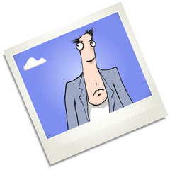 Nervous man polaroid cartoon character