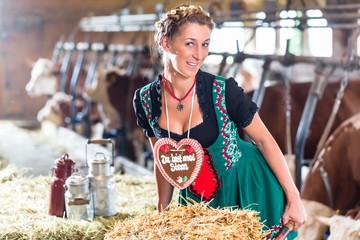 Bayern Frau fährt Schubkarre im Kuhstall