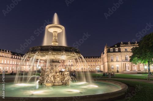 canvas print picture Beleuchtetes Schloss Stuttgart bei Nacht mit Brunnen