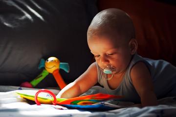 Toddler reading.