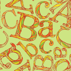colorful seamless pattern of alphabet letters