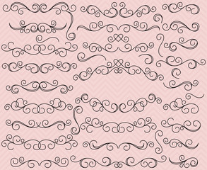 Doodle Style Hand Drawn Vector Flourishes and Frame with Heart