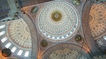 Interior view of New mosque in Fatih, Istanbul, Turkey