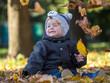 Yellow leaves falling on sitting little boy