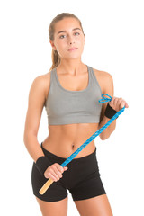 Sporty Woman With Jumping Rope