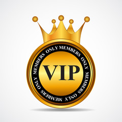 Vector VIP Members Only Gold Sign, Label Template
