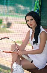 Beautiful woman playing tennis