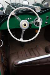 Interior of green vintage car