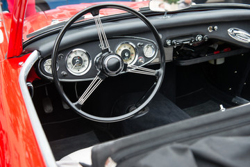 Interior of red vintage car