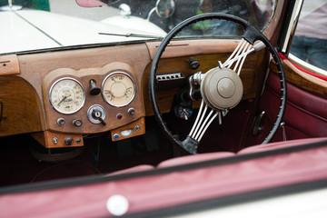 interior of a vintage car