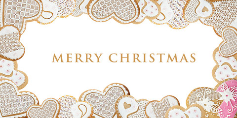 Christmas card with gingerbread hearts on white
