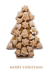 Christmas card with homemade gingerbread advent calendar