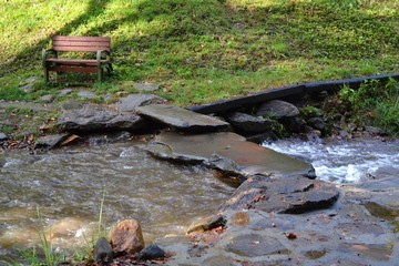 Bench by a Mountain Stream