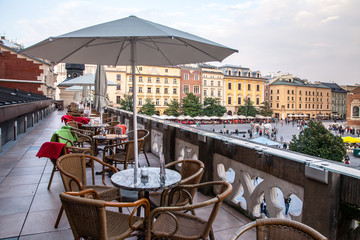 Outdoor cafe above Sukiennice in Krakow Poland