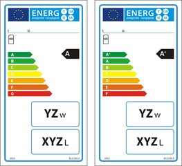 Hot water storage tanks new energy rating graph label in vector.