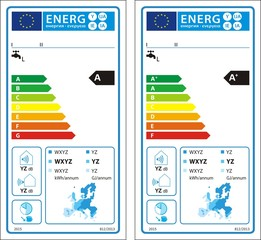 Heat pump water heaters new energy rating graph label in vector.
