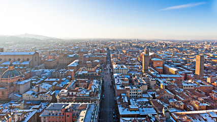 bologna aerial view of snow-covered  from Asinelli tower