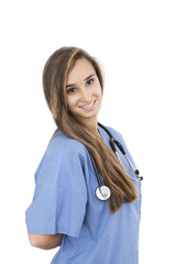 young attractive student nurse in white background