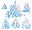 Vector set of christmas trees.