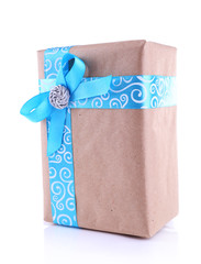 Holiday gift box decorated with blue ribbon isolated on white