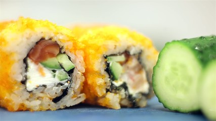 Sushi rolls close up shot