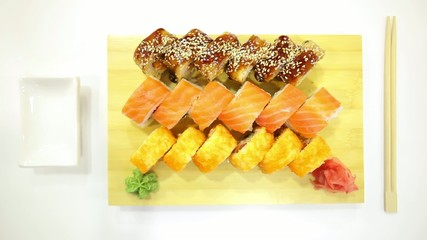 Plate of sushi rolls