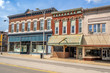 Ornate downtown shops and storefronts on main street in Midwest small town - 71618507
