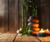 Spa stones, candles, bamboo branches