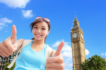 Happy woman travel in London