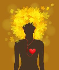 Woman, autumn, love