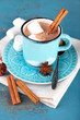 Cup of tasty hot cocoa, on wooden table