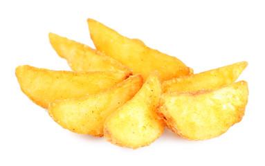 Homemade fried potato isolated on white
