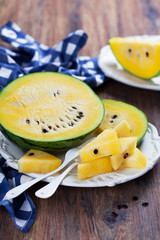 Fresh ripe yellow watermelon, selective focus