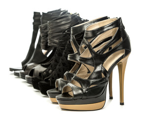groupf of various high heels ankle boots