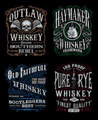 Vintage Whiskey Label T-shirt Graphic Set