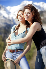 Two beautiful girlfriends at the Alps