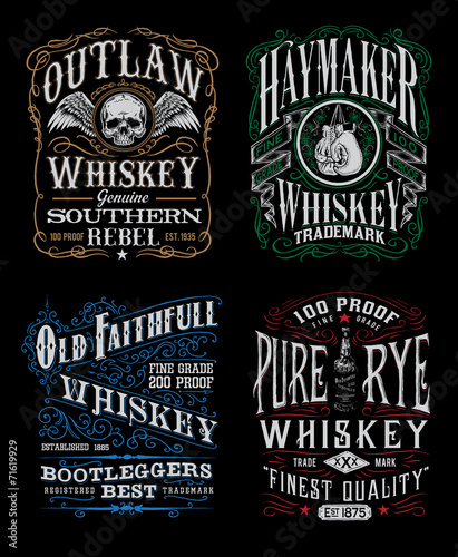 Vintage Whiskey Label T-shirt Graphic Set