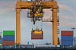 Container Cargo freight ship with working crane loading bridge - 71620171