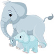 Cute elephant family