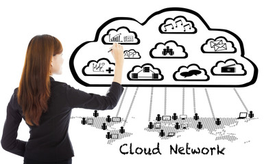 Business woman drawing a  global cloud computing applications