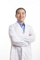 Young doctor standing isolated on white