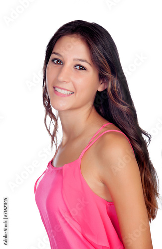 canvas print picture Atrractive young girl in pink