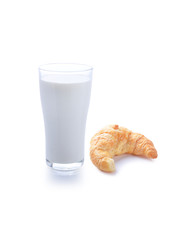 glass of milk  and tasty croissant