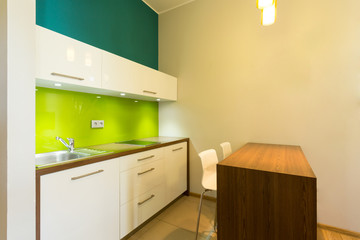 Kitchen area in a flat