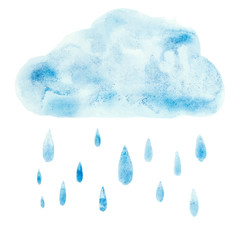 Hand draw aquarelle art paint blue watercolor cloud rain drop