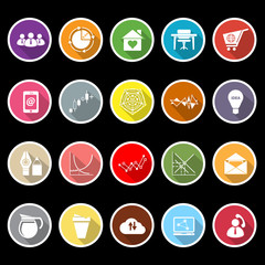 Virtual organization flat icons with long shadow