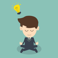 businessman meditation -  get idea concept
