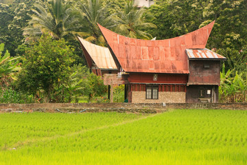 Traditional Batak house on Samosir island, Sumatra, Indonesia